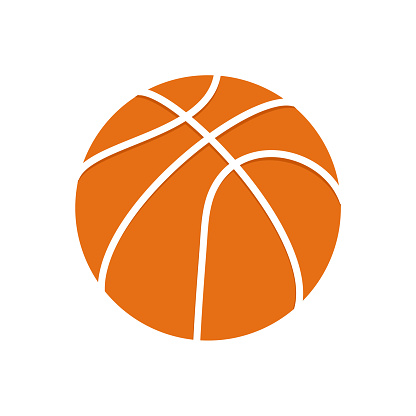 Basketball ball with white outline