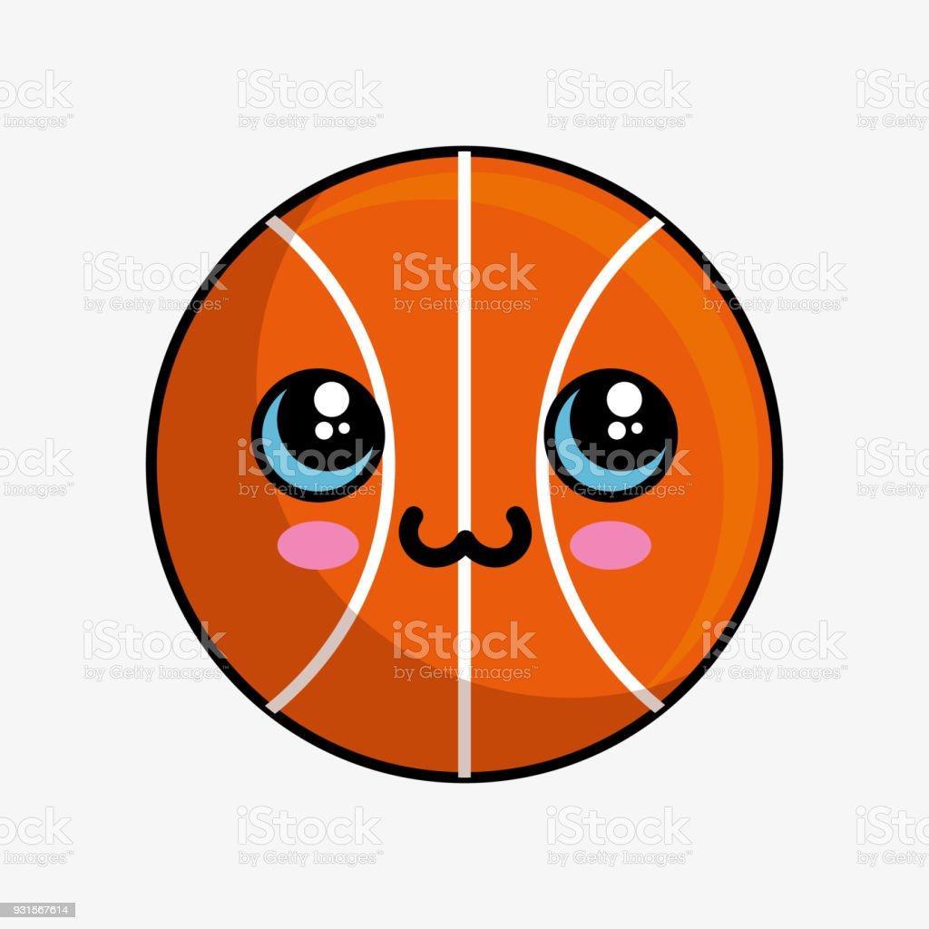 Ilustración de Baloncesto Balón Personaje Kawaii y más banco de ...