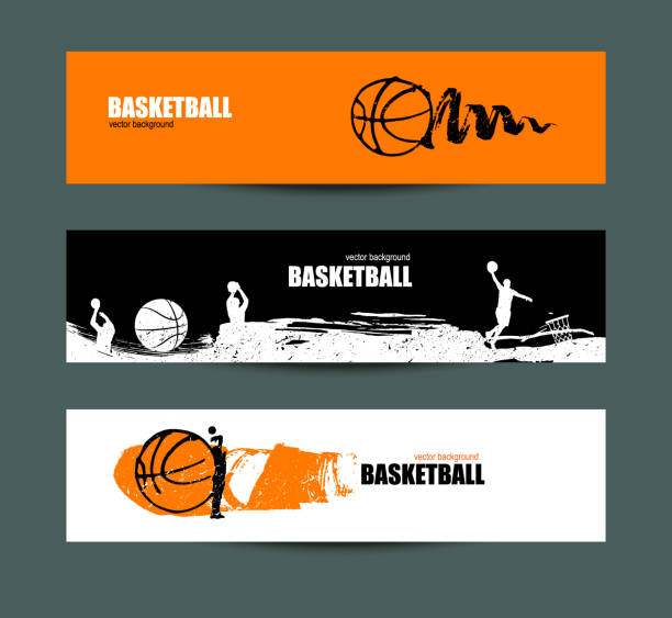 Basketball banner, set of sports templates for the tournament, abstract ball, drawing of spots, sketches of players. vector art illustration