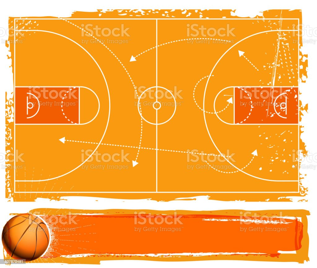 basketball banner vector art illustration