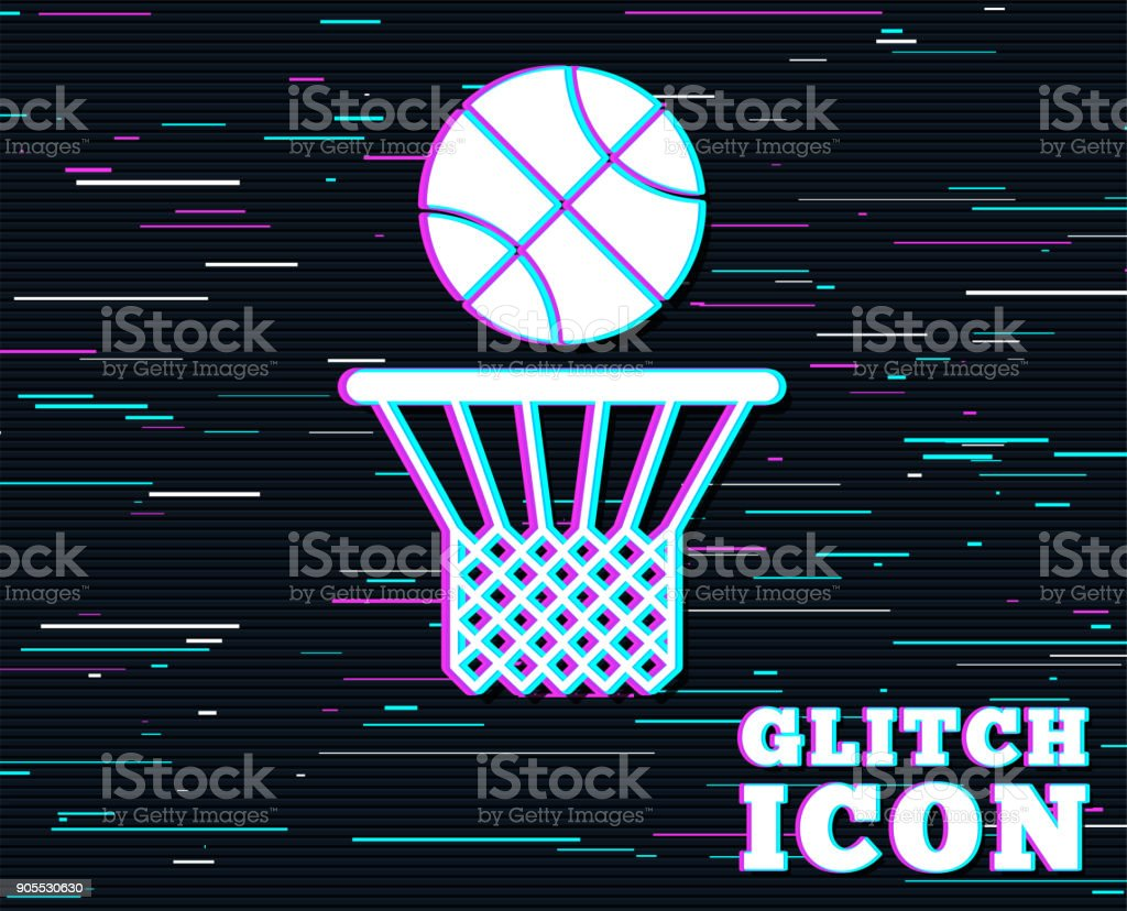 Basketball basket and ball icon. Sport symbol. vector art illustration