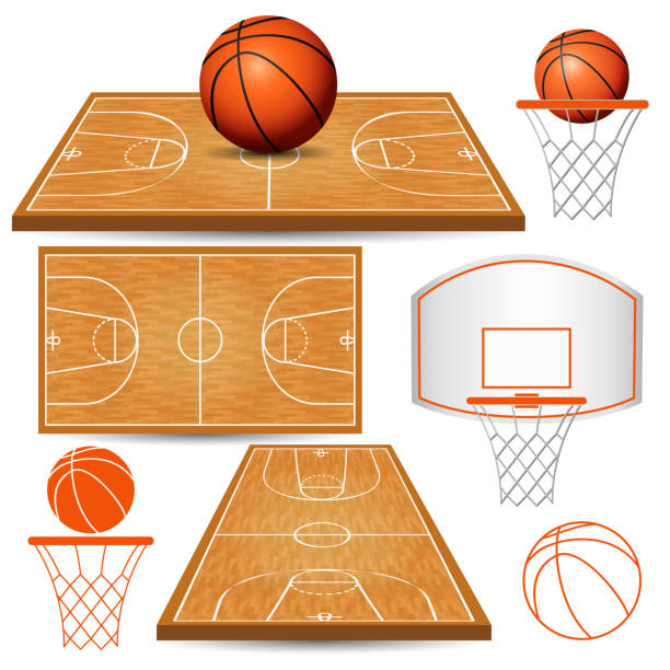 Basketball basket, hoop, ball, fields vector art illustration