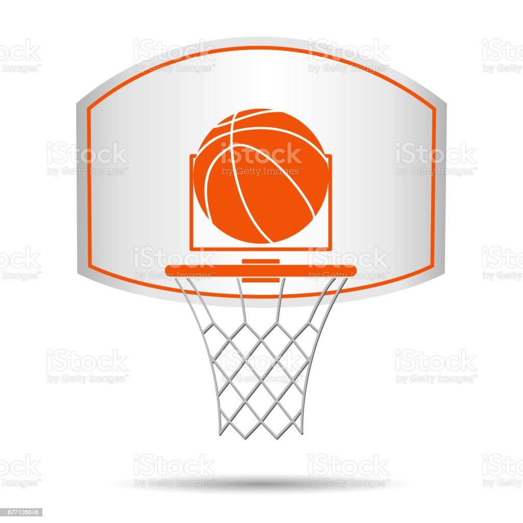 Basketball basket, hoop, ball vector art illustration