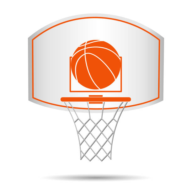 Basketball basket, hoop, ball Basketball basket, hoop, ball isolated on white background. Vector illustration basketball hoop stock illustrations
