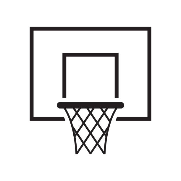 ilustraciones, imágenes clip art, dibujos animados e iconos de stock de icono de canasta de baloncesto. ilustración vectorial - basketball hoop