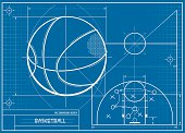 A vector illustration of a basketball blueprint.  This is perfect for backgrounds.  This image is a vector image and is scaleable to any size without distortion or loss of quality.