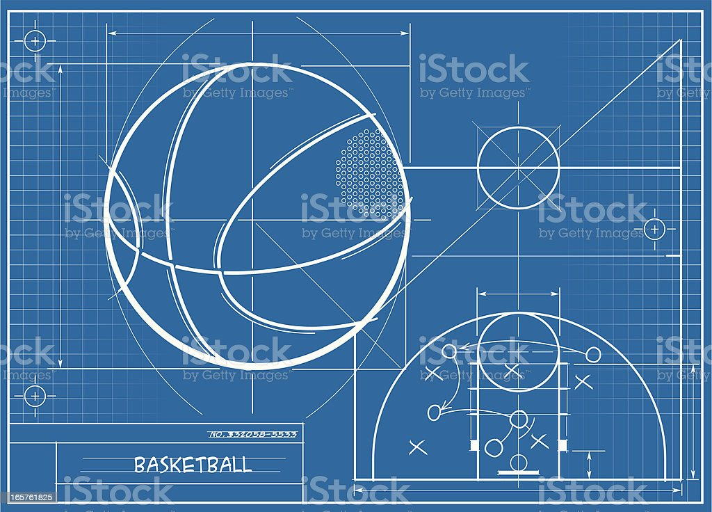 Basketball Blueprint vector art illustration
