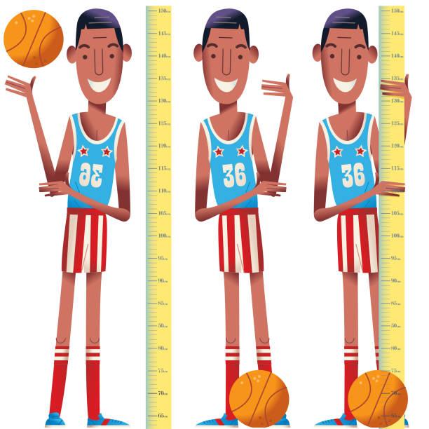 stockillustraties, clipart, cartoons en iconen met basketbal jongens - lang lengte