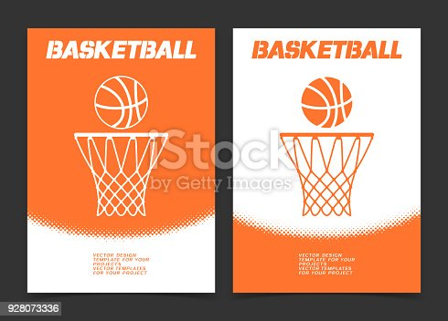 istock Basketball brochure or web banner design with ball and hoop icon 928073336