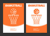 Basketball brochure or web banner design with ball and hoop icon