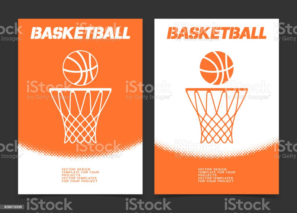 Basketball brochure or web banner design with ball and hoop icon vector art illustration