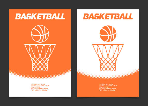 Basketball brochure or web banner design with ball and hoop icon Basketball brochure or web banner design with ball and hoop icon. Vector illustration basketball hoop stock illustrations