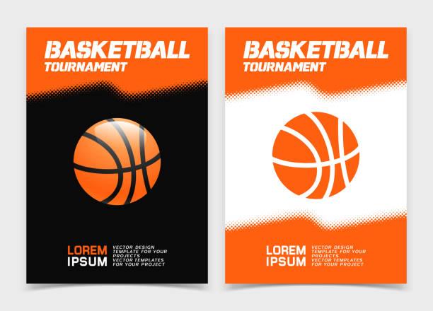 Basketball brochure or web banner design with ball icon vector art illustration