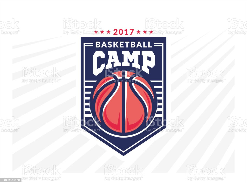 Basketball camp logo, emblem, designs with basketball ball and shield on a light background vector art illustration