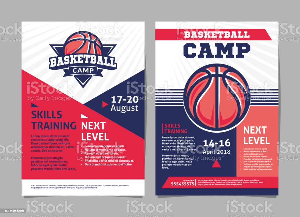 Basketball Camp Posters Flyer With Basketball Ball Template Vector ...