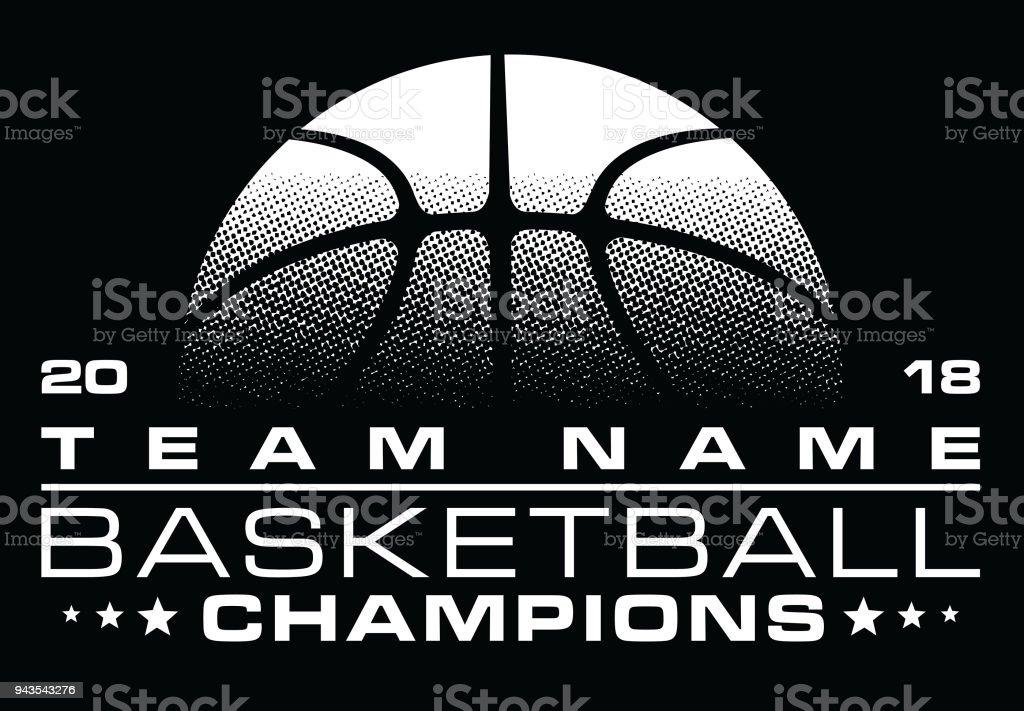 Conception de Champions de basket-ball avec le nom de l'équipe - Illustration vectorielle