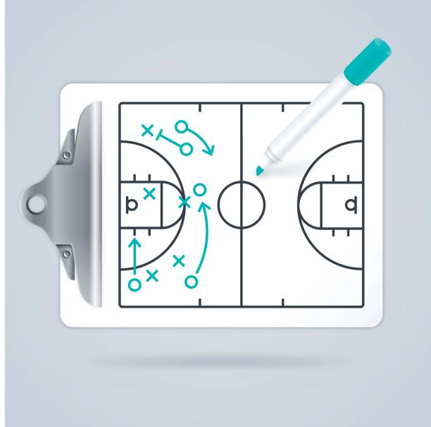 Basketball Clipboard Play Diagram vector art illustration
