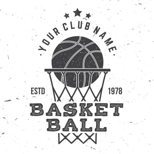 Basketball club badge. Vector illustration. Concept for shirt, print, stamp. Vintage typography design with basketball ring, net and ball silhouette. Basketball club badge. Vector illustration. Concept for shirt, print, stamp or tee. Vintage typography design with basketball ring, net and ball silhouette. basketball hoop stock illustrations