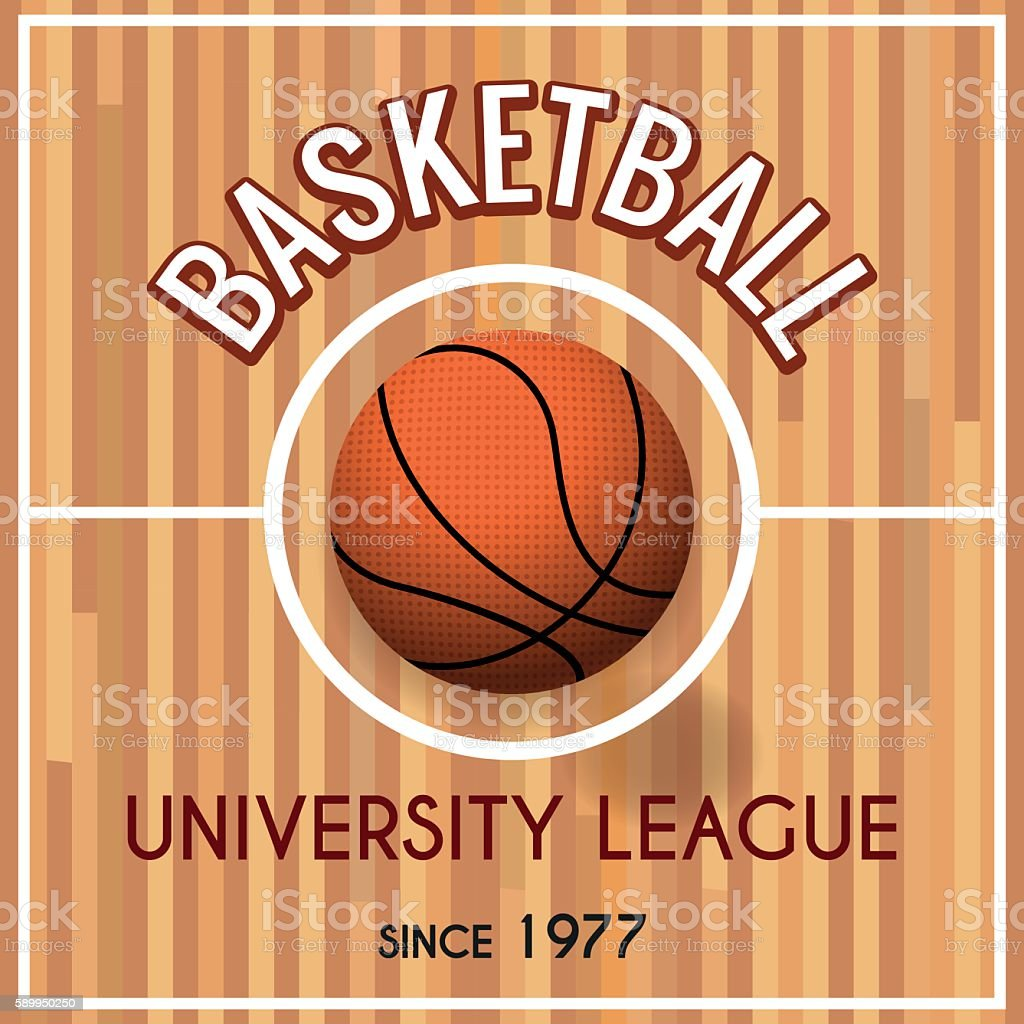 Basketball college or university league poster vector art illustration