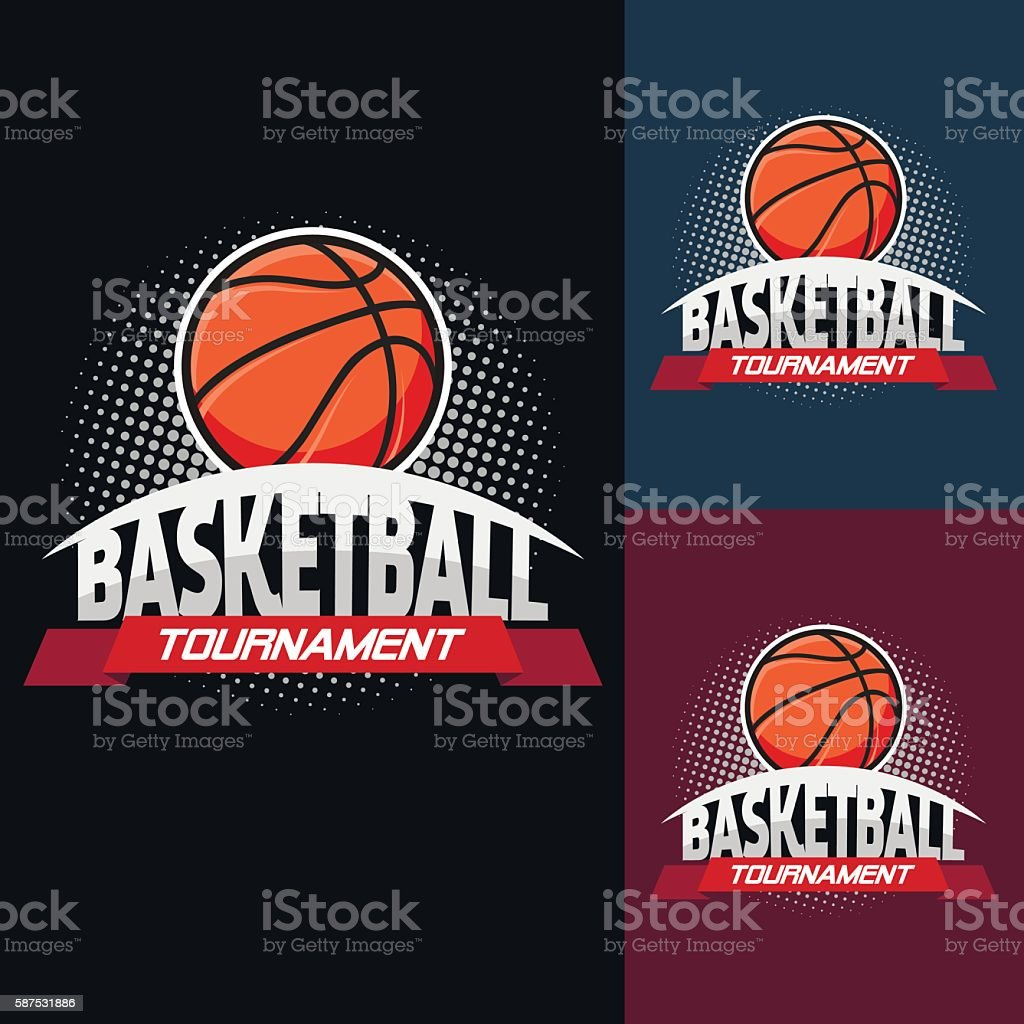 Basketball colour tournament logo vector art illustration
