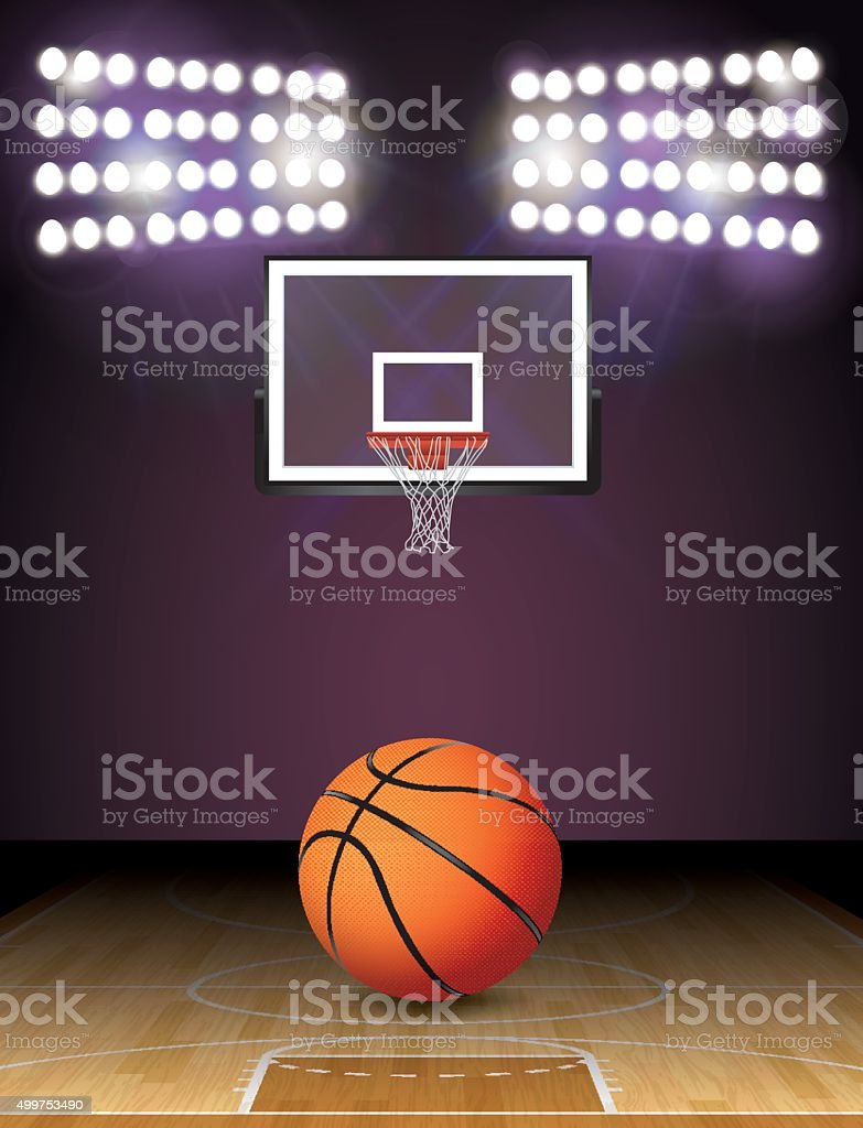 Basketball Court and Lights Ball and Hoop Illustration vector art illustration