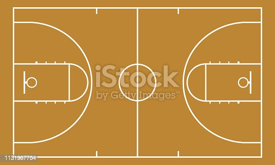 Basketball court. Background for sport strategy. Realistic vector illustration.