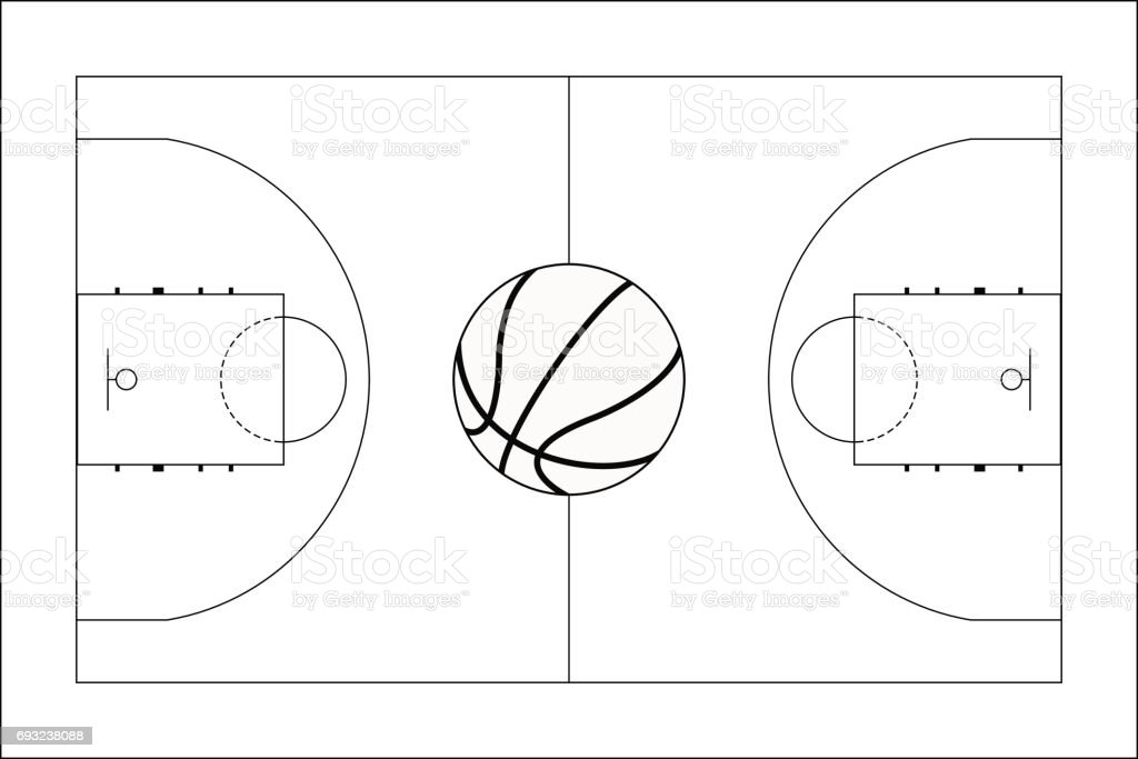 Basketball court. Basketball ball. Top View. vector art illustration