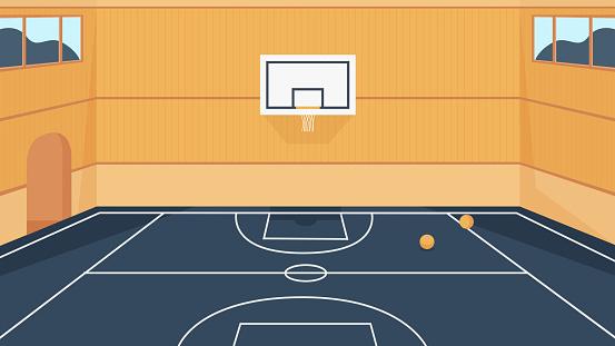 Basketball court, cartoon 3d empty stadium, gym sport arena