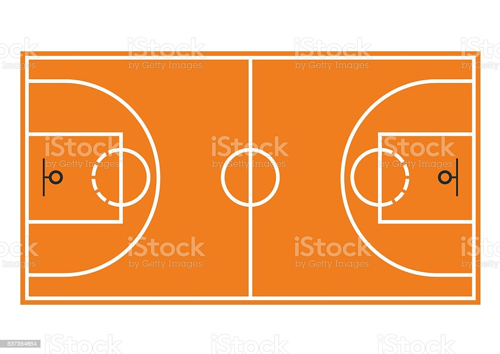 Terrain de basket-ball. Champ seul sur fond blanc - Illustration vectorielle