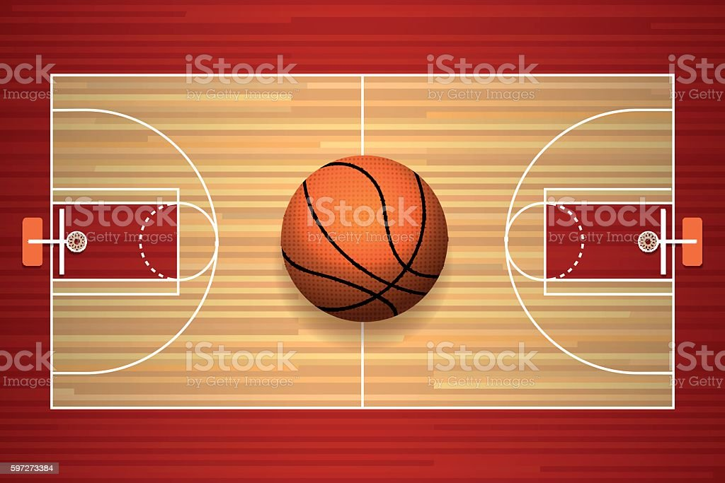 Basketball court floor top view vector art illustration