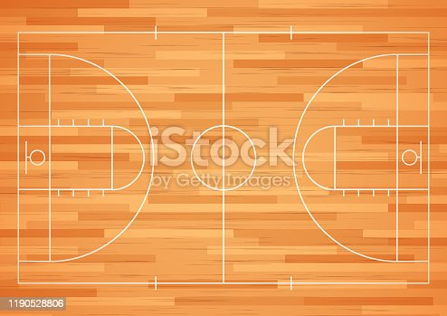 Vector illustration of Basketball court floor with line