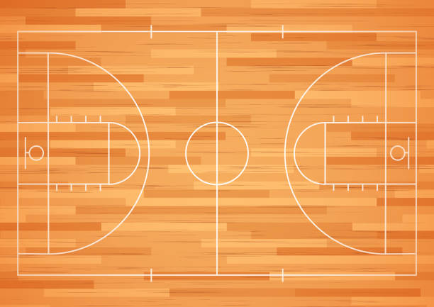 Basketball court floor with line Vector illustration of Basketball court floor with line basketball stock illustrations