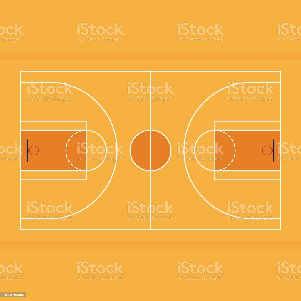 Basketball court from top view flat design vector art illustration