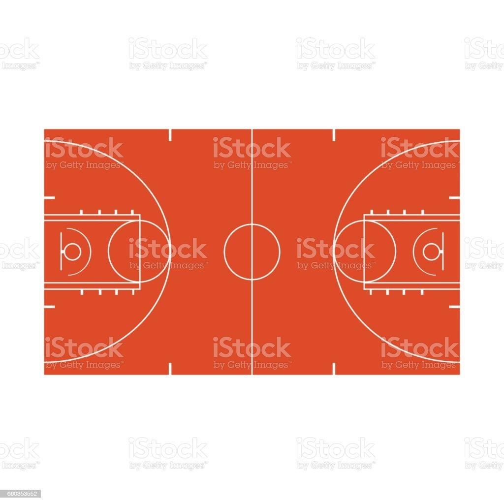 Icono de la corte de baloncesto aislado sobre fondo blanco - ilustración de arte vectorial