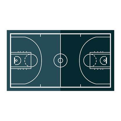 Basketball Court Icon on Transparent Background