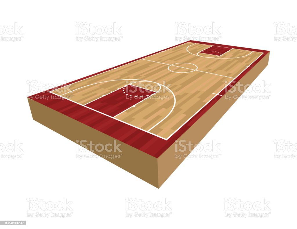 3D Basketball Court Illustration vector art illustration