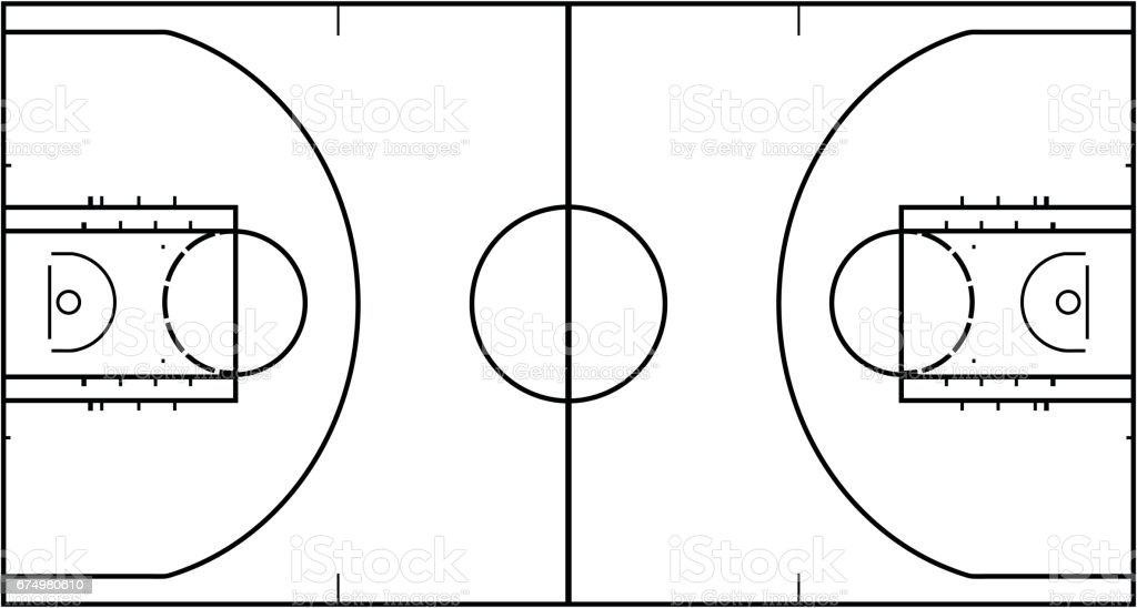 Basketball court isolated on white background. Top view vector illustration.