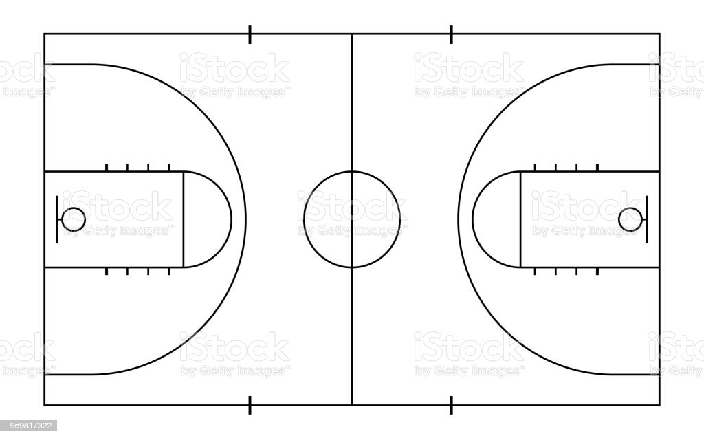 Basketball court. Sport background. Line art style vector art illustration