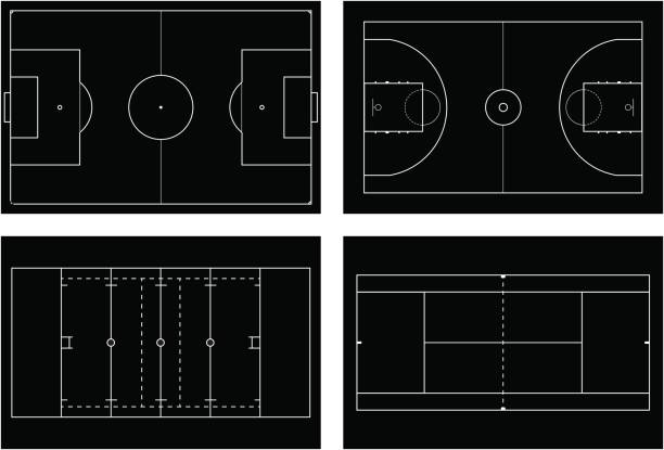 Basketball court. Tennis court. American football field. Sport s vector art illustration