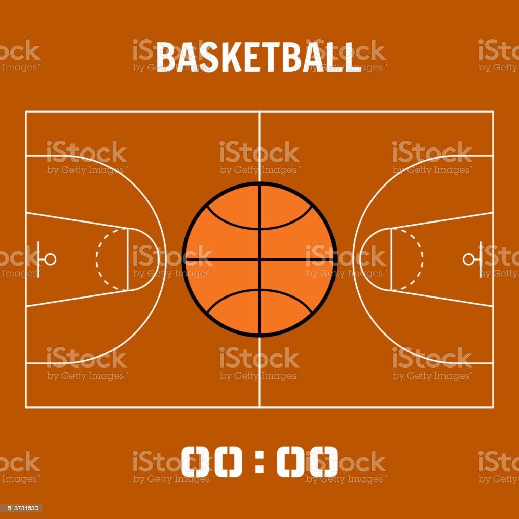 Basketball court, the plan field. Sports ball flat icon vector art illustration