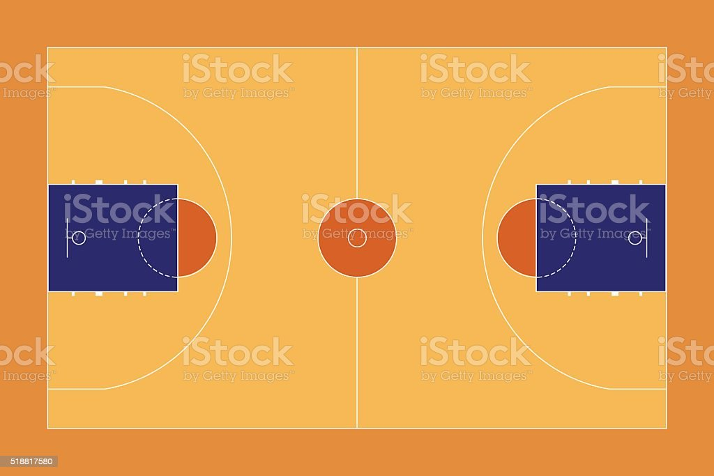 Basketball court. Top View vector art illustration