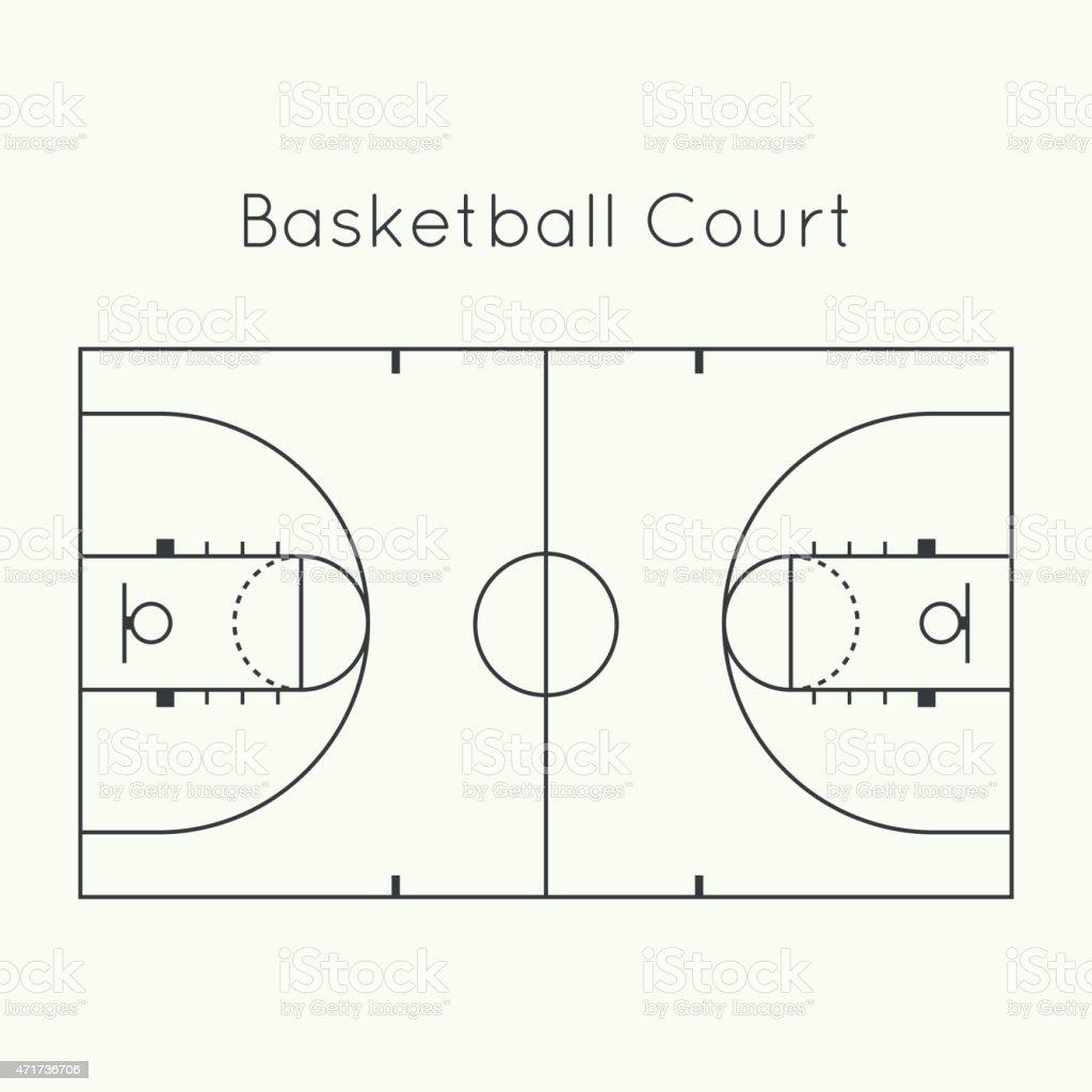 Cancha de básquetbol - ilustración de arte vectorial