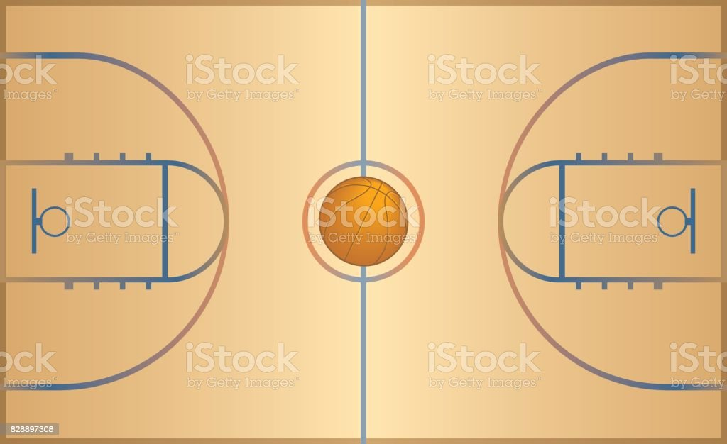 basketball court with basketball vector art illustration