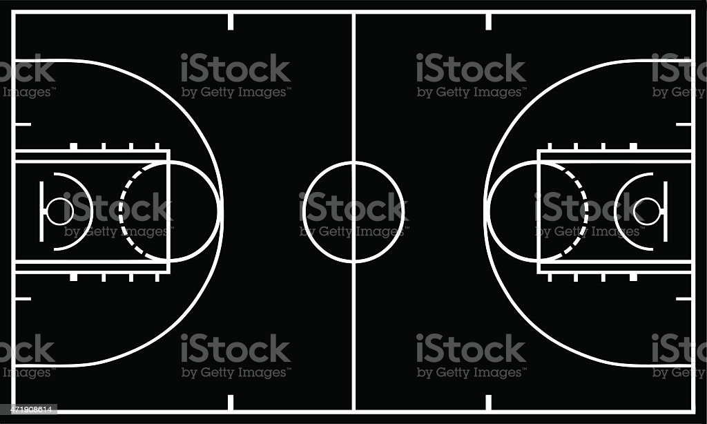Basketball court with black in background vector art illustration