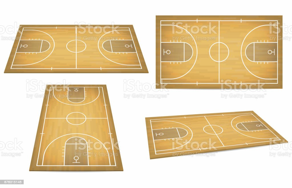 Basketball court with wooden floor. View from above and perspective, isometric view vector art illustration