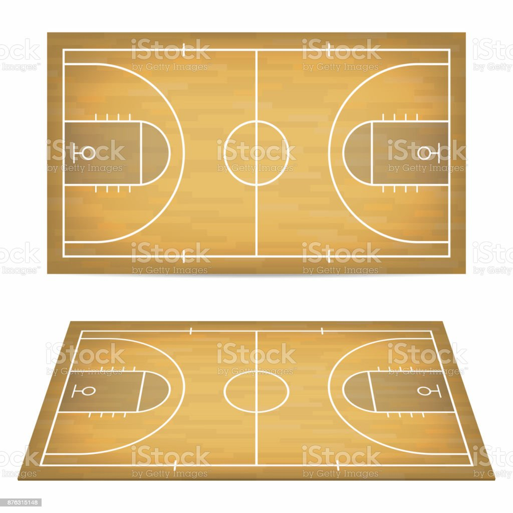 Basketball court with wooden floor. View from above and perspective, isometric view. vector art illustration