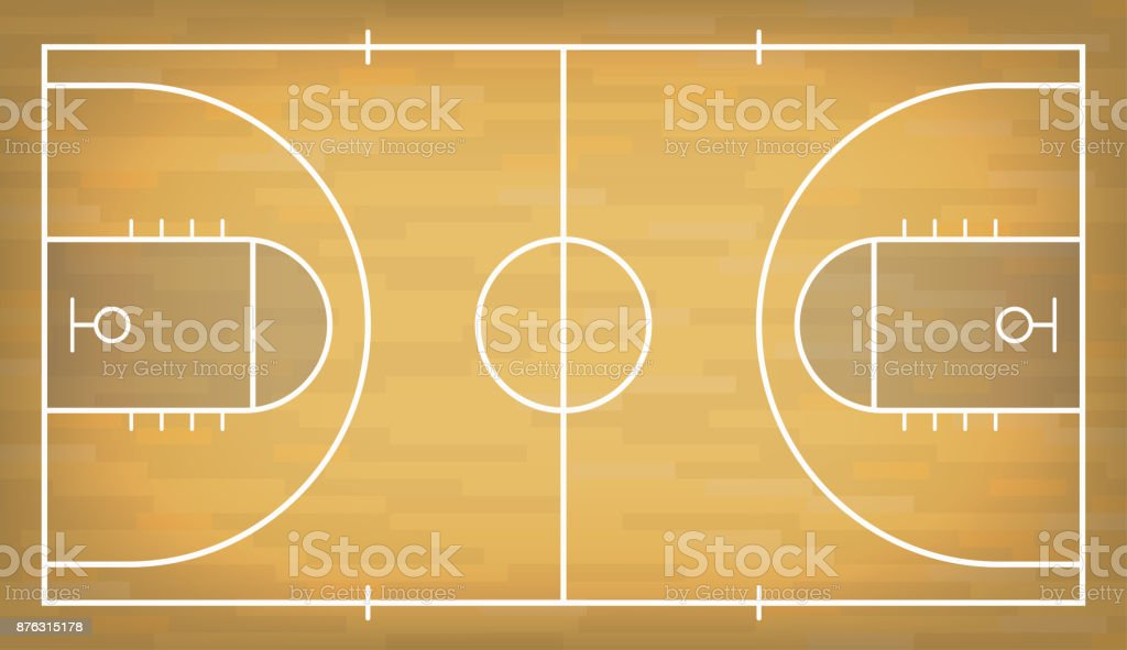 Basketball court with wooden floor. View from above vector art illustration