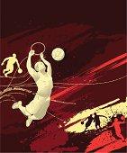 Basketball themed composition, -Basketball player, - vector illustration