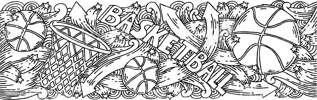 Basketball doodles background royalty-free stock vector art