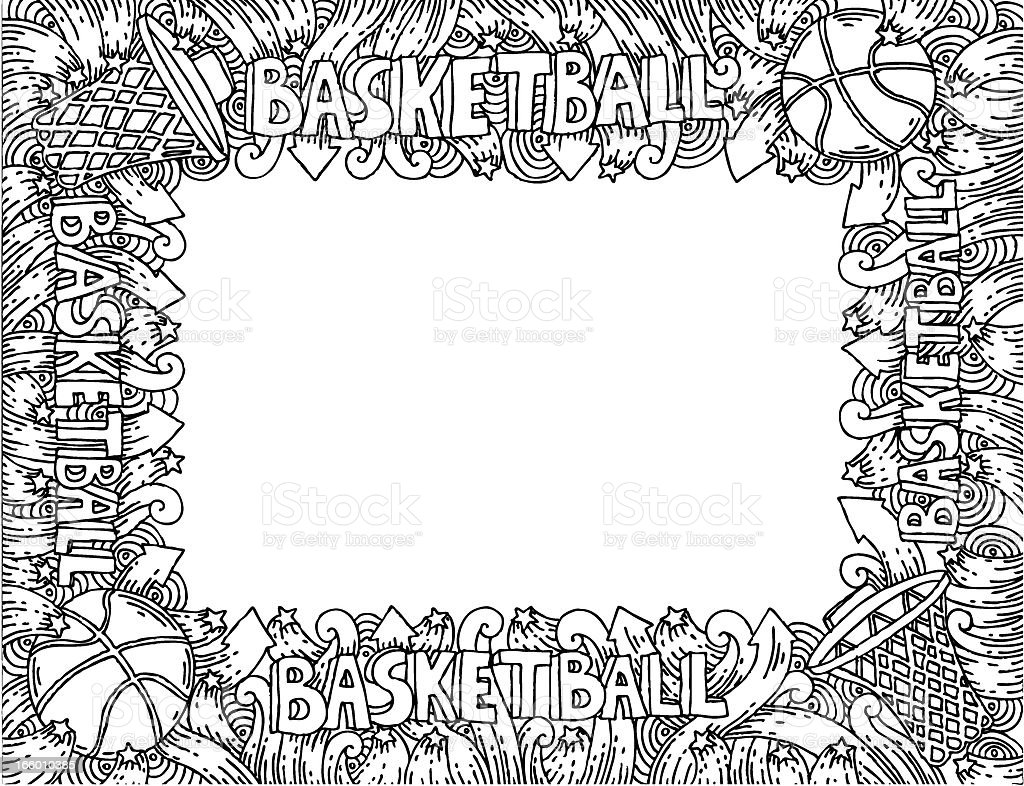 Basketball doodles frame royalty-free stock vector art